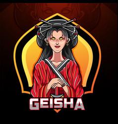 geisha esport mascot logo design vector image