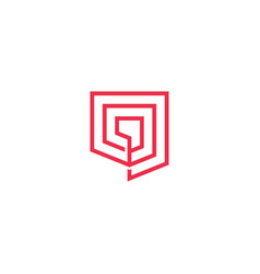 geometric shield logo icon line outline monoline vector image