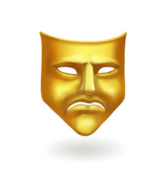 Gold theatrical sad mask tragedy icon symbol vector