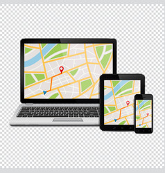 gps map on display of modern digital devices vector image