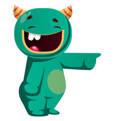 Green monster laughing at somebody vector