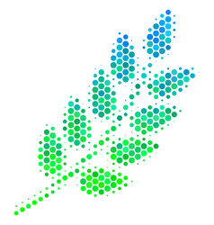 halftone blue-green leaf branch icon vector image