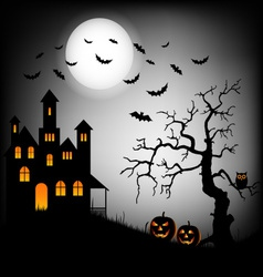 Halloween haunted castle with bats and tree vector image