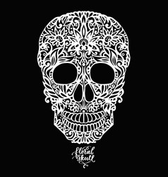 Hand drawn floral hand drawn patterned skull vector