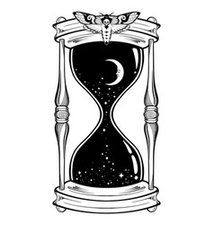 Hand drawn line art hourglass with moon and stars vector