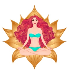Hand drawn of woman sitting in lotus pose yoga vector