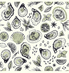 Hand drawn seamless pattern with oysters vector