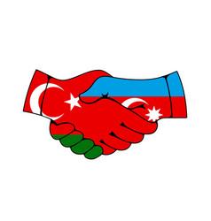 Handshake with flags turkey and azerbaijan vector