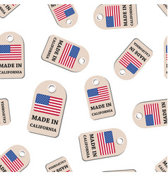 Hang tag made in california with flag seamless vector