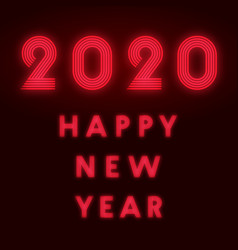 happy new year 2020 background red neon design vector image
