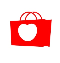 Heart with shopping bag vector