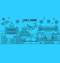 italy rome city winter holidays skyline merry vector image