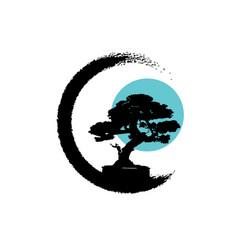 japanese bonsai tree logo black plant silhouette vector image