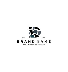 Letter d and stone logo design vector