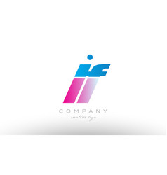 lf l f alphabet letter combination pink blue bold vector image