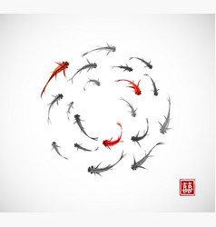 little black and red fishes in circle on white vector image