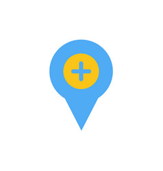 Location map navigation pin plus flat color icon vector