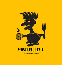 logo for cafes with a person isolated on a yellow vector image