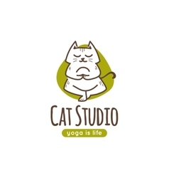 Logo with cute cartoon cat standing in yoga vector
