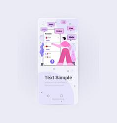 Man using mobile translation application vector