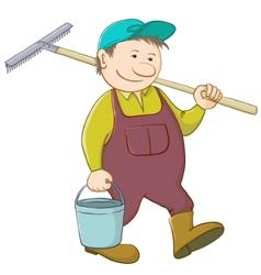 Man with bucket and rake vector
