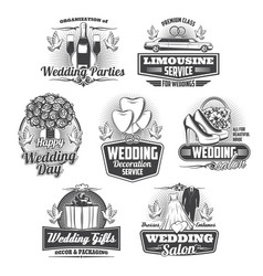 marriage service wedding ceremony isolated icons vector image