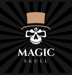 modern professional emblem magic skull in black vector image