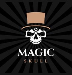 Modern professional emblem magic skull in black vector