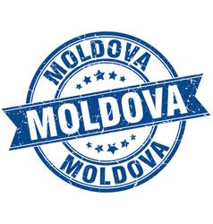 Moldova blue round grunge vintage ribbon stamp vector