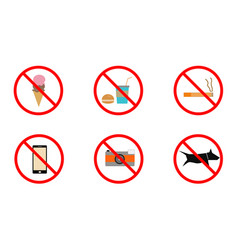 No smoking no cell phone no dogs and no eating vector