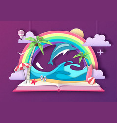 open fairy tale book with dolphin vector image
