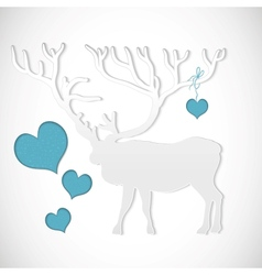 Paper cut greeting card with deer vector