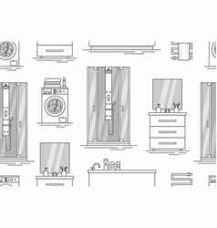pattern with elements for bathroom interior vector image