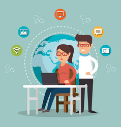people working with social media icons vector image