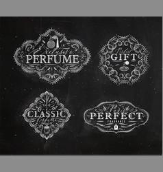 Perfume vintage badge beige black vector