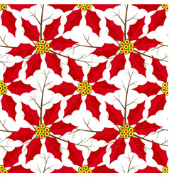 poinsettia christmas flowers seamless pattern vector image