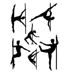 pole dance woman gesture silhouette vector image