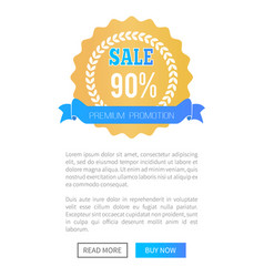 premium promotion sale golden round label web page vector image