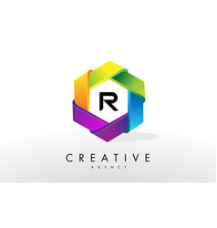 r letter logo corporate hexagon design vector image