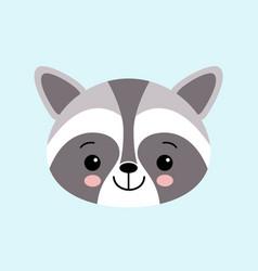 raccoon cute cartoon animal icon isolated on blue vector image