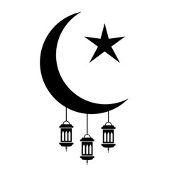 Ramadan eid al-fitr crescent and star vector