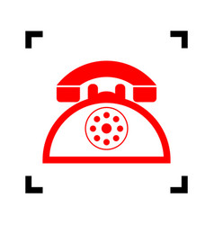 retro telephone sign red icon inside vector image