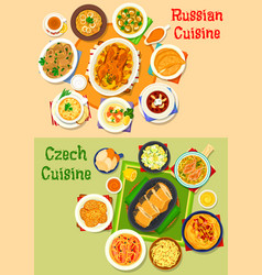 russian and czech cuisine icon set for food design vector image