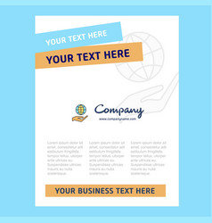 Safe world title page design for company profile vector