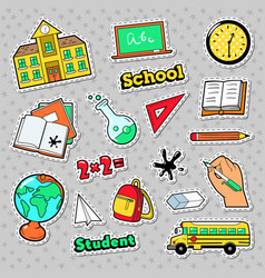 School and education badges patches stickers vector