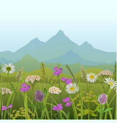 Seamless horizon border with greenery and vector