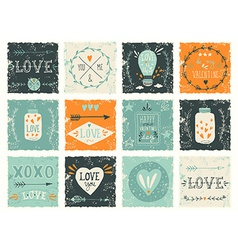 Set of grunge Valentines day design elements vector