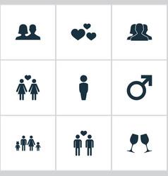 Set simple beloved icons vector