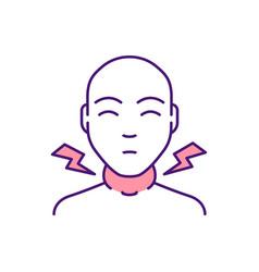 Swollen lymph nodes rgb color icon vector