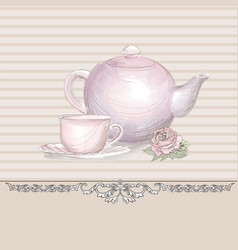 tea time vintage background tea kettle and cup vector image